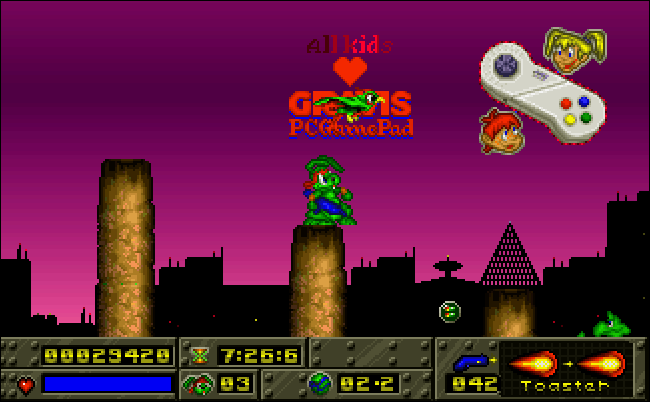 "The Gravis PC Gamepad in ""Jazz Jackrabbit."""