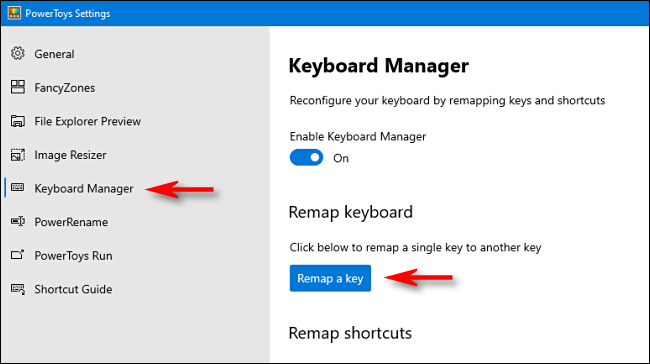 "Click ""Keyboard Manager"" in the sidebar, and then click ""Remap a key."""