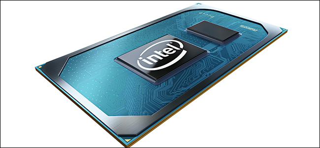 A computer rendering of Intel's Tiger Lake processors with ice blue and silver coloring.