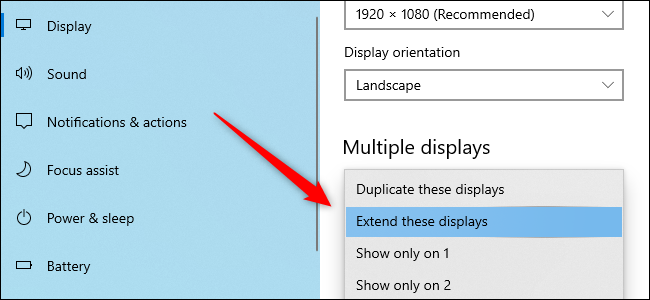 The Windows 10 Settings app showing the option to adjust multiple displays.