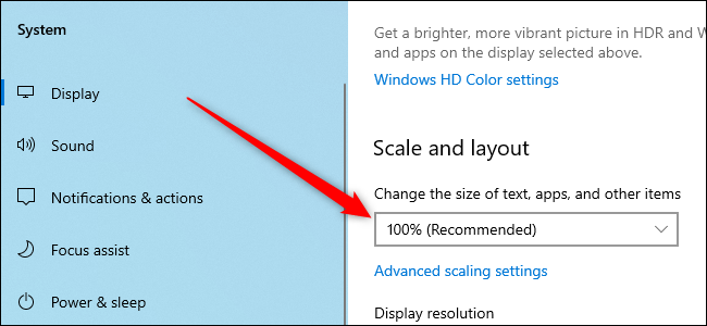 Windows 10 Settings app showing the display scaling option.